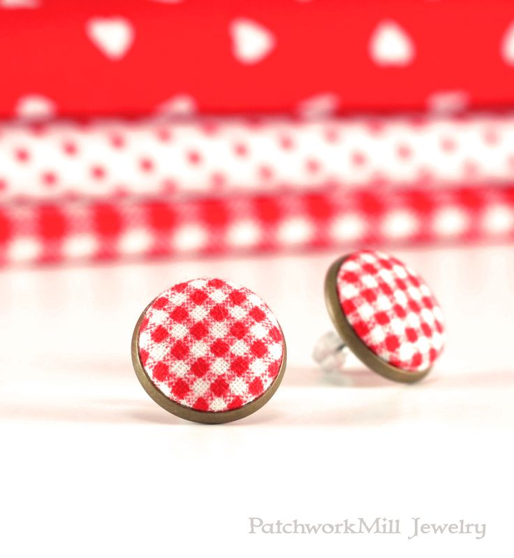 Red Stud Earrings - Red Gingham Earring Studs - Red and White Earrings - Fabric Covered Buttons Earrings Antique Posts Jewelry by PatchworkMillJewelry