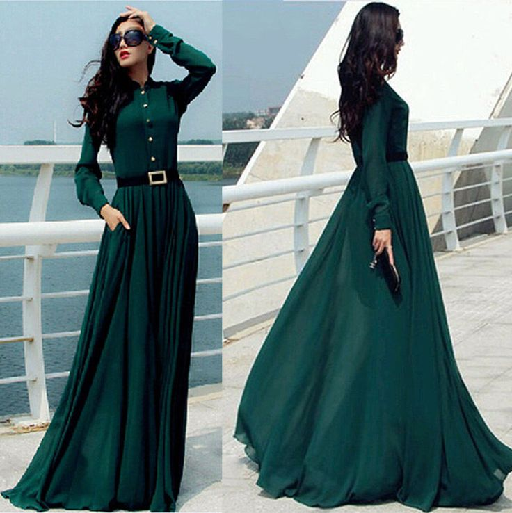 Vintage Kaftan Abaya Islamic Muslim Cocktail Womens Long Sleeve Long Maxi Dress