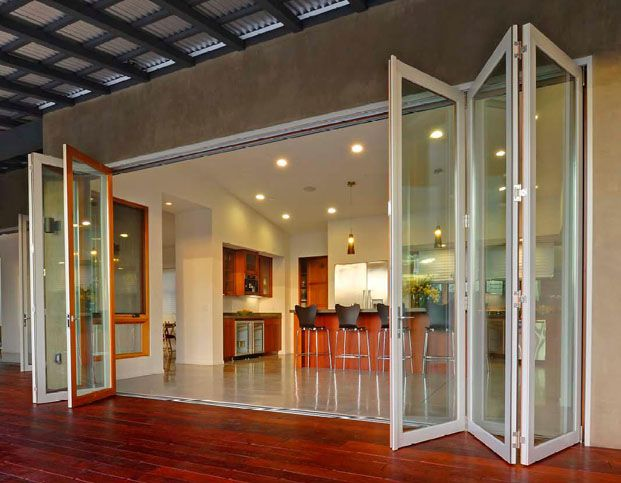 glass outside doors that fold | Connect interior and exterior spaces with bi-fold glass doors Metal ...