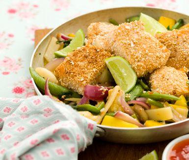 Recept: Sesamlax med sweet chili-wokade grönsaker
