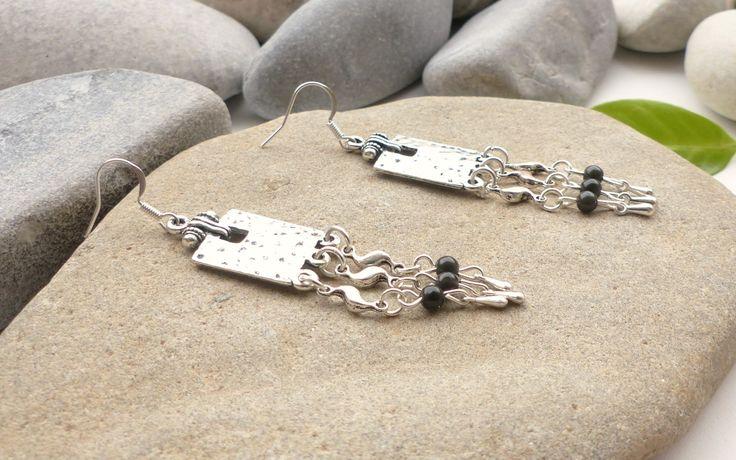 Boucles d'oreilles en obsidienne noire, bijoux en pierres fines, boucles d'oreilles en perle snaturelles : Boucles d'oreille par lapassiondisabelle