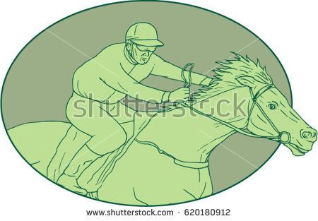 Drawing sketch style illustration of jockey riding a horse racing viewed from the side set inside oval shape on isolated background.   #horseracing #drawing #illustration