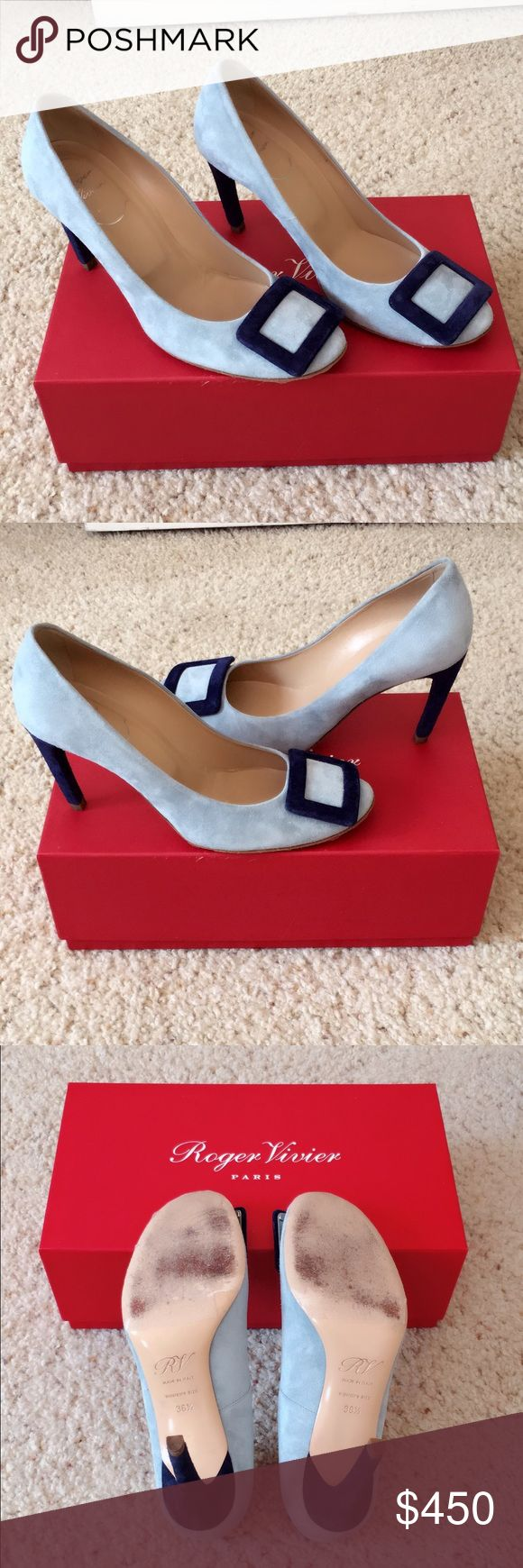 Roger Vivier Blue Suede Pumps Authentic. Runs large. Gently used. Any question, message me😊 Roger Vivier Shoes Heels