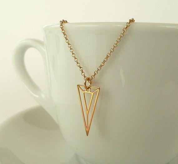 Triangle necklace silvergold v necklace sterling silver geometric triangle necklace silvergold v necklace sterling silver aloadofball Image collections