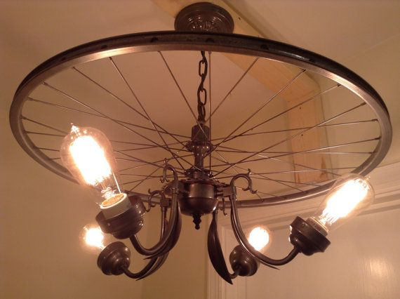 hanging industrial chandelier made from repurposed bike tire rim wheel rim 4 bulbs vintage light - Antique Light Fixtures