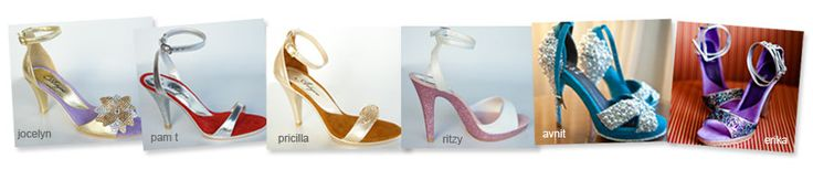 custom shoes by artyce designs! what a great idea!! choose your style, heel height, color (exterior and lining), add glitter/pearls/rhinestones, add personalized labels like names/dates/location...