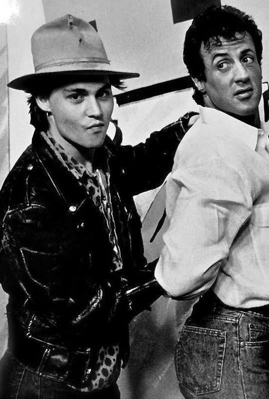 vintagesalt:  Johnny Depp & Sylvester Stallone on Hey Hey, It's Saturday, 1988