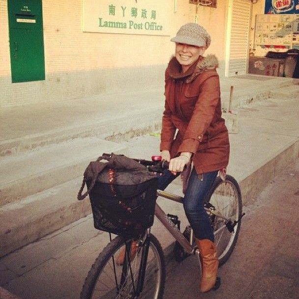 Me on my bike! Getting to the post office, the ferry, the vegetable shop, the beach....#hongkong #lamma