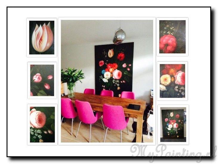 Gedurfd... roze stoelen en een kleurrijk bloemenschilderij. Warm! Wouw! http://www.mypainting.nl/page/125-voorbeelden-bloemen-schilderijen
