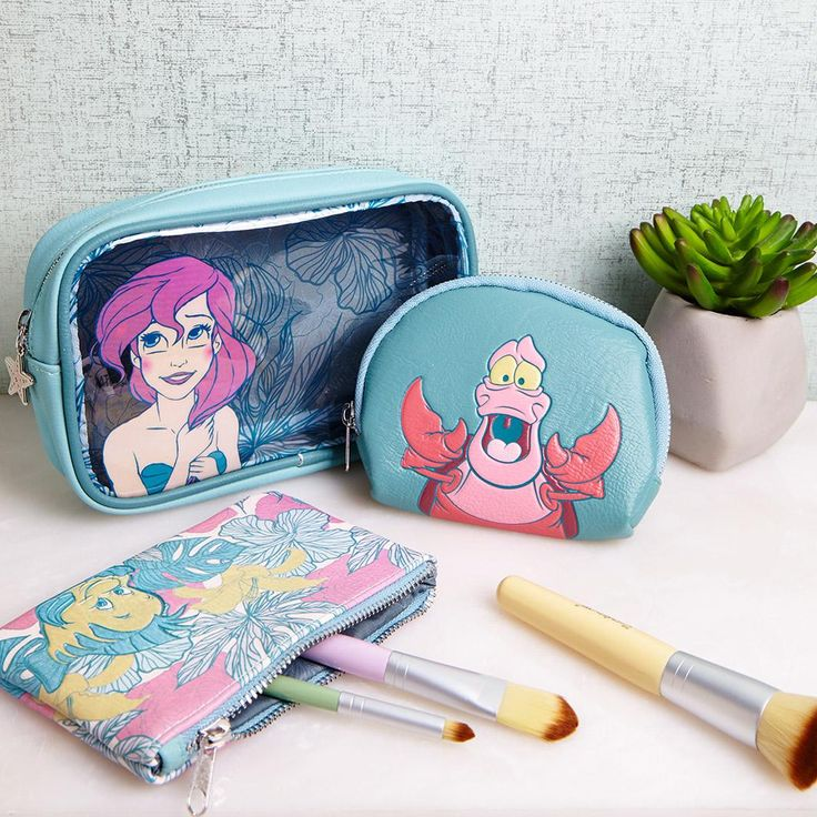 Need a place to store your whosits and whatsits galore? | Loungefly Disney The Little Mermaid Makeup Bag Set
