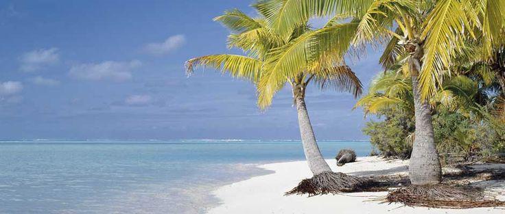 Strand op Aitutaki, Cook Eilanden