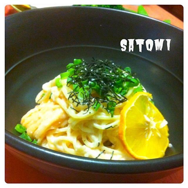 子供たちと私だけなので簡単ご飯꒰*´艸`*꒱ 後は温野菜サラダと、コーンスープ。 - 56件のもぐもぐ - 明太子スパゲティ by satommy1