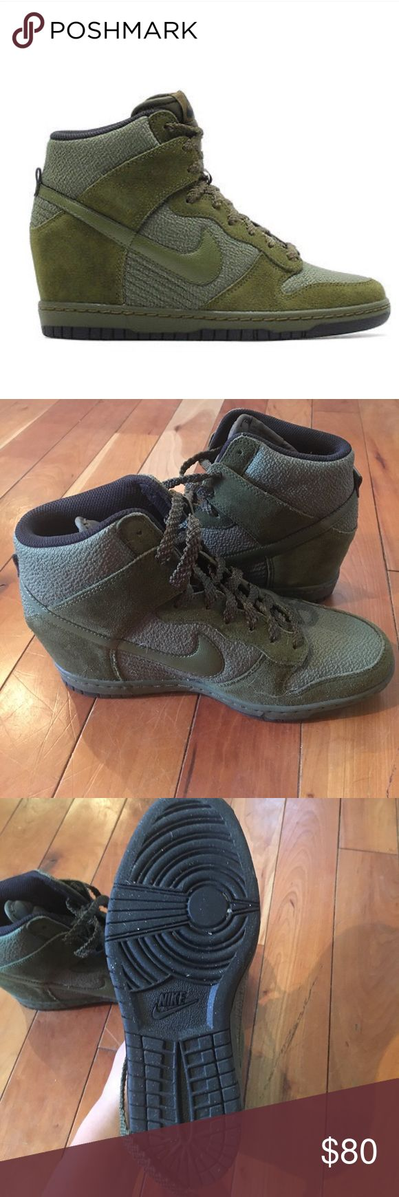 Nike Wedge Sneakers Cute Nike Wedge sneakers in olive green. Worn only once! Perfect condition! Nike Shoes Wedges