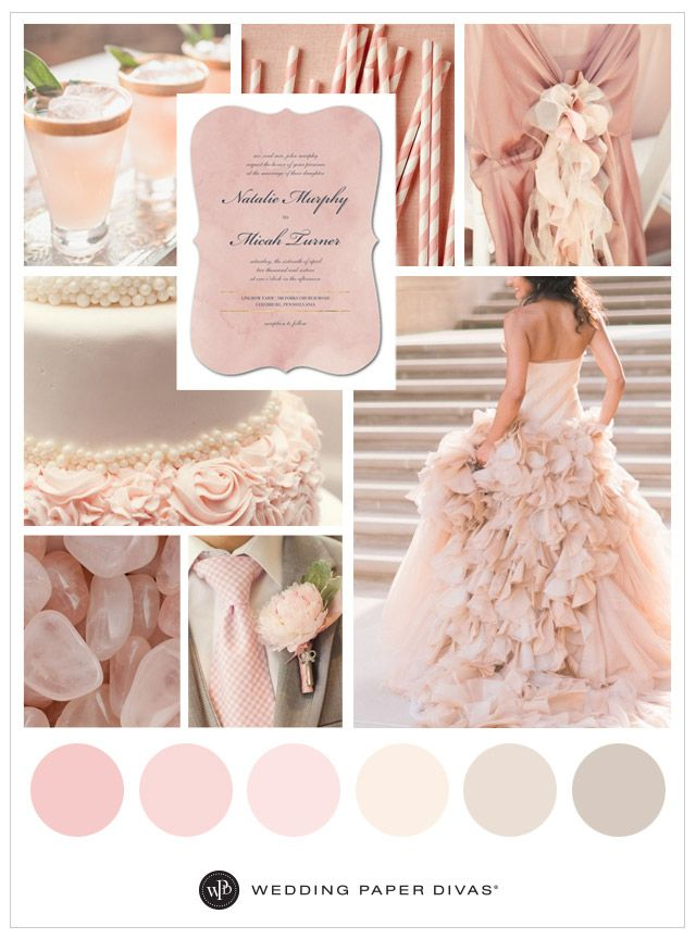 Want a pink wedding inspired by the Pantone color of the year? This dreamy rose quartz wedding inspiration board has romantic wedding colors and ideas.