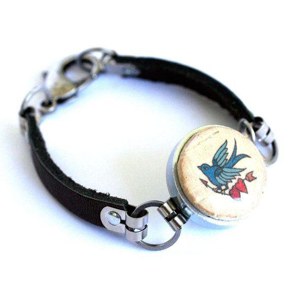 Sparrow Bracelet  Vintage Tattoo Leather Bracelet Eco by uncorked
