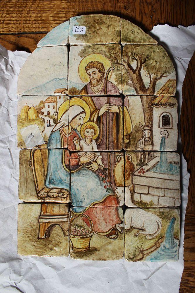 MAIOLICHE PIASTRELLE - MATTONELLE - '900 - RAPPRESENTAZIONE MADONNA in Arte e antiquariato, Porcellana e ceramica, Piastrelle e mattonelle | eBay