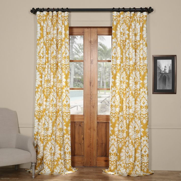AmazonSmile: Half Price Drapes PRTW-D46A-96 Lacuna Printed Cotton Twill Curtain,Sun,50 X 96: Home & Kitchen