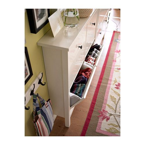 What a great idea for storage.  Can also be used to file art work, school supplies, scarfs, mittens... HEMNES Shoe cabinet with 4 comparment IKEA