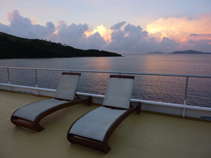 Onboard the Fijian Princess with Blue Lagoon Cruises, sailing in the beautiful waters of the Yasawa Islands..