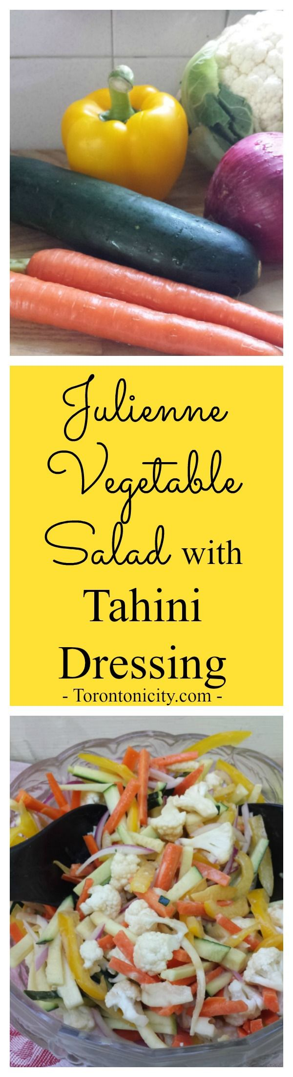 Julienne Vegetable Salad with Tahini Dressing. Enjoy this summer salad with fresh vegetables from the farmer's market including cauliflower, zucchini, carrots, red onion and yellow bell pepper.