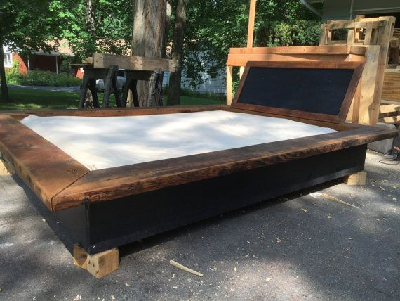 Queen Barn Floating Platform Bed by TheGreenPalette on Etsy