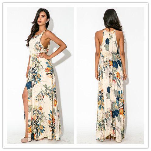 Bobemian Printed Side Slit Sexy Maxi Dresses