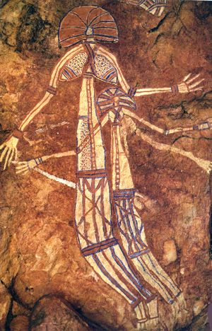 Male and female figures from Ubirr Rock, Arnhem Land, Australia