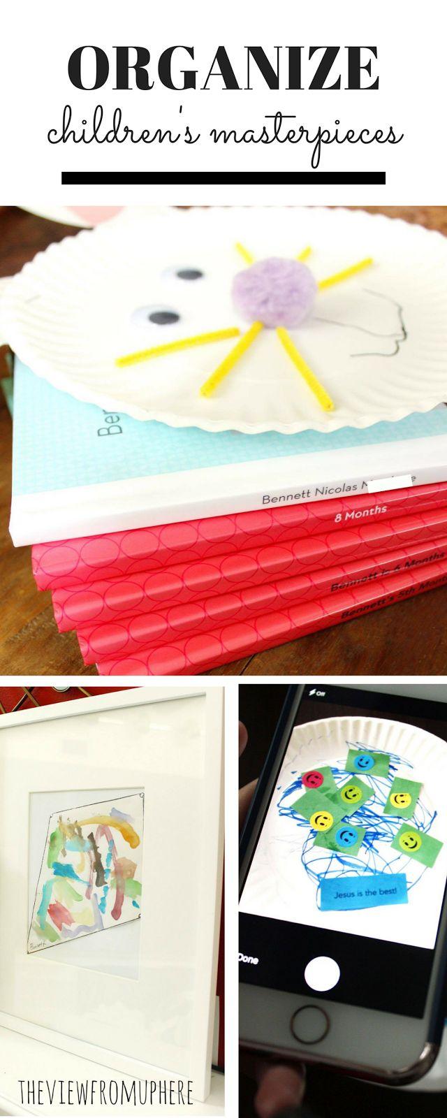 The View From Up Here: Organize Children's Masterpieces; organize artwork; organize child's work; organize; DIY organize; shutterfly book; artwork collage; frame artwork; artwork photobook