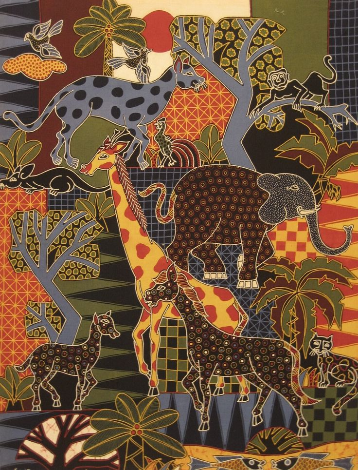Modern batik painting depicting a zoo, multicolor by Sawitri, Indonesia. Museon, CC BY