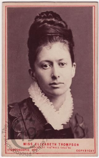 A carte-de-visite portrait of the English artist Elizabeth Thompson, Lady Butler (1846-1933). A celebrated battle painter, her reputation was made when Queen Victoria bought The Roll Call, painted by her in 1874.  Her sister was the writer, Alice Meynell.   This photograph is possibly from the sitting referred to in Elizabeth Butler's An Autobiography (1923):  'Of course, the photographers began bothering. The idea of my portraits being published in the shop windows was repugnant to me…