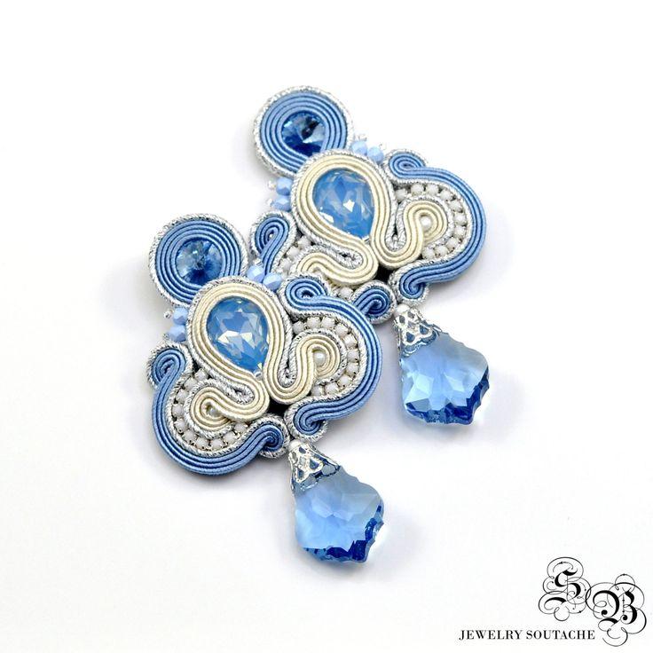 Long Blue Cream Clip On Earrings, Dangle Earrings, Silver Stud Earrings, Elegant Blue Earrings, Long Blue Soutache Earrings, Glamour by SBjewelrySoutache on Etsy