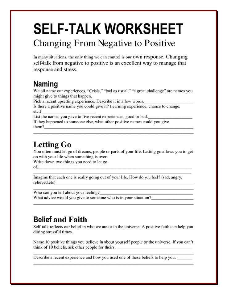 Understanding your own self talk. Is it positive or negative? Is it helping the situation? Is it helping you? Learn to recognise the signs & develop more robust, resilient & more positive self talk. Self talk worksheet