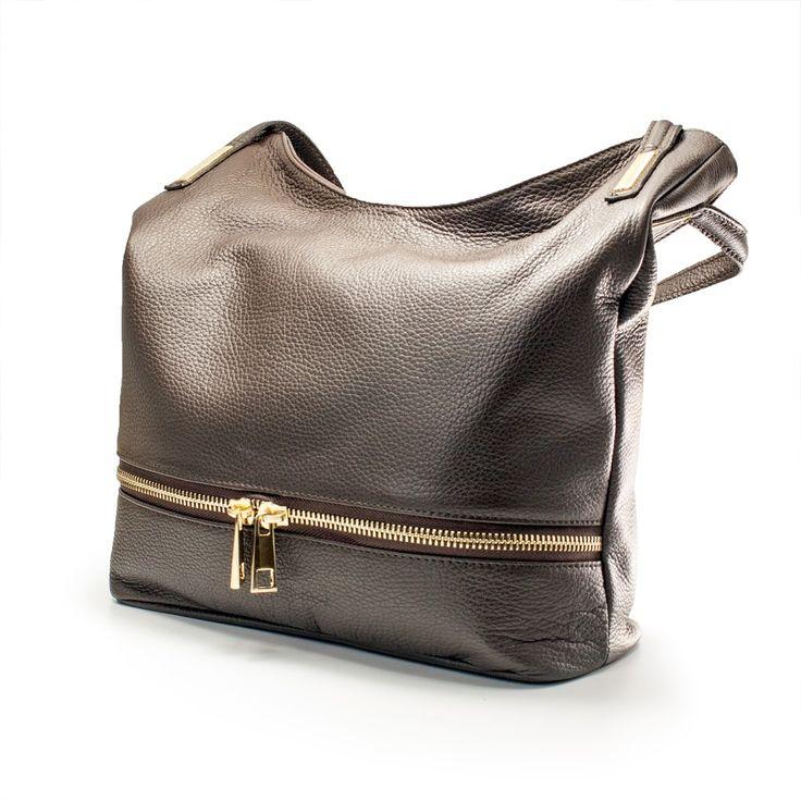 Geanta din piele fina cu fermoar, geanta dama