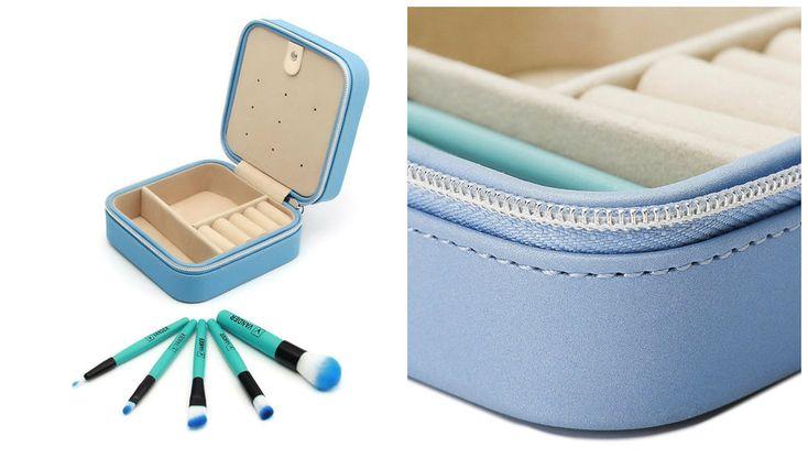 Small Jewelry Box Travel Case Organizer Zippered Leather 5 Mini Brush Set Blue #TravelJewelryBoxesOrganizers