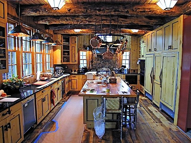 love the beams, floor, cabinets, etc.: Photo, Knotty Pine Kitchen
