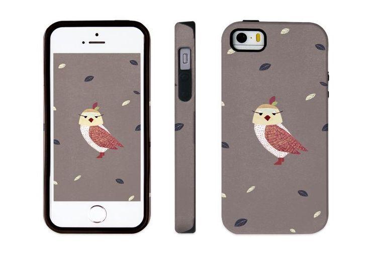 "iphone 5 5s illust designed case, ""an owl - brown"" made in korea, hardcase #astep"