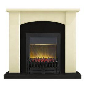 Adam Holden Fireplace Suite in Cream with Blenheim Electric Fire in Black 39 Inch | Electric Fireplace Suites | Fireplace Suites | Fireplace World