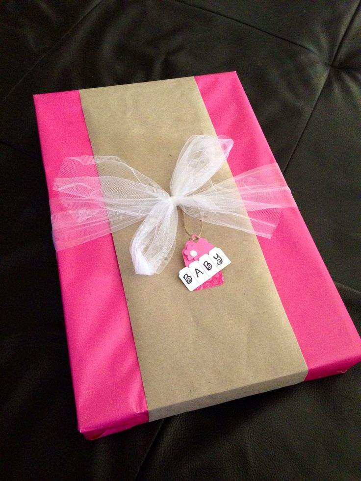 diy baby shower gift wrap idea solid pink wrapping paper re purpose