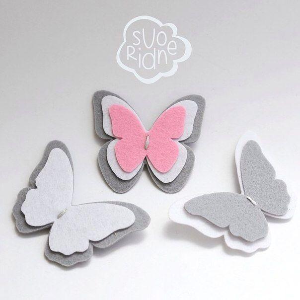 Felt brooch butterfly, брошь из фетра бабочка