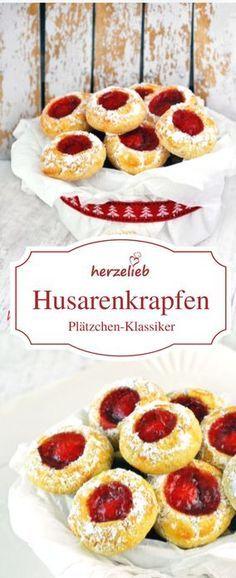 Kekse Rezepte - Plätzchen Rezept für Husarenkrapfen, Engelsaugen oder Husarenkrapferl von herzelieb #deutsch #foodblog