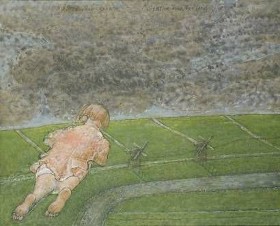 Co Westerik: Christine over the land 1993 oil paint, tempera and alkyd on canvas, 600 x 750mm