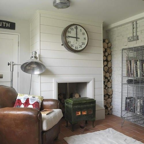 Horizontal Panels And Big Clock, Love The Super Deep Base Molding, Simple  Look For Living Room Wall.