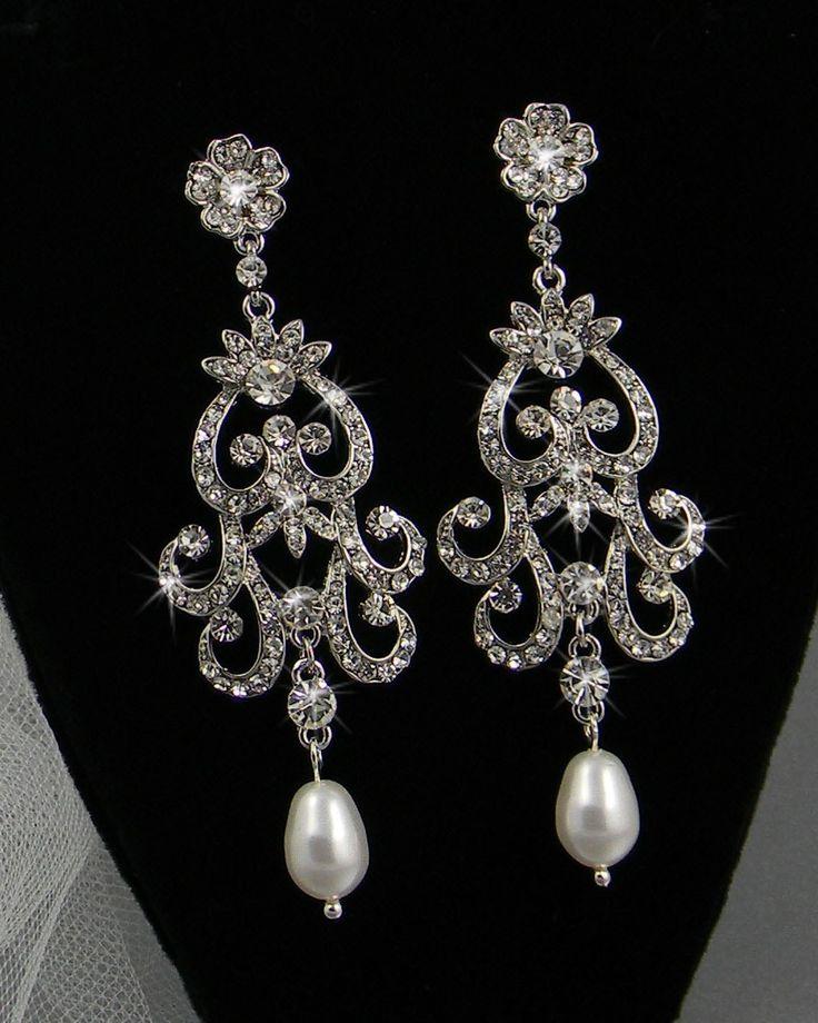 Bridal Chandelier Earrings Wedding Jewelry Swarovski Crystal Rhinestones And Pearls Leah Vintage Style 52 00