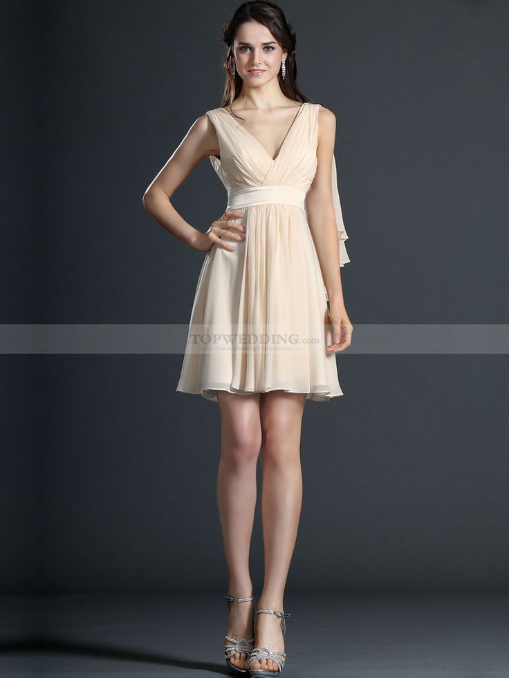Sleeveless Pleated Short A Line Chiffon Bridesmaid Dress with Draping on Shoulder