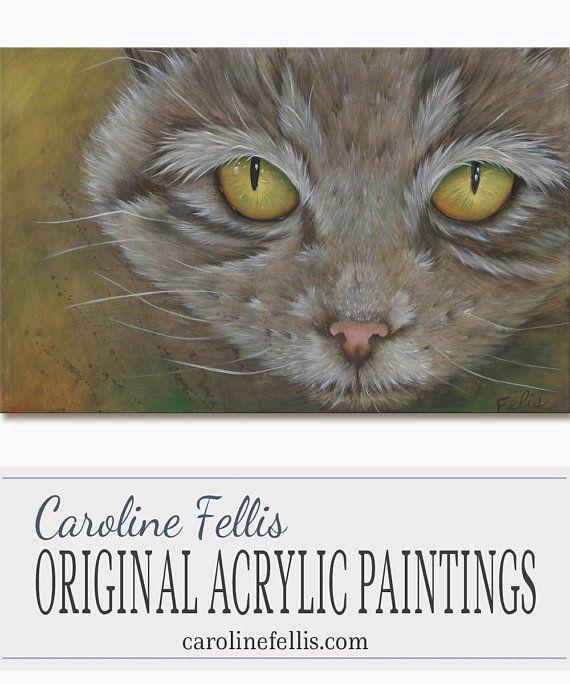 Cat Face Yellow Eyes Acrylic painting Original Art Cat's