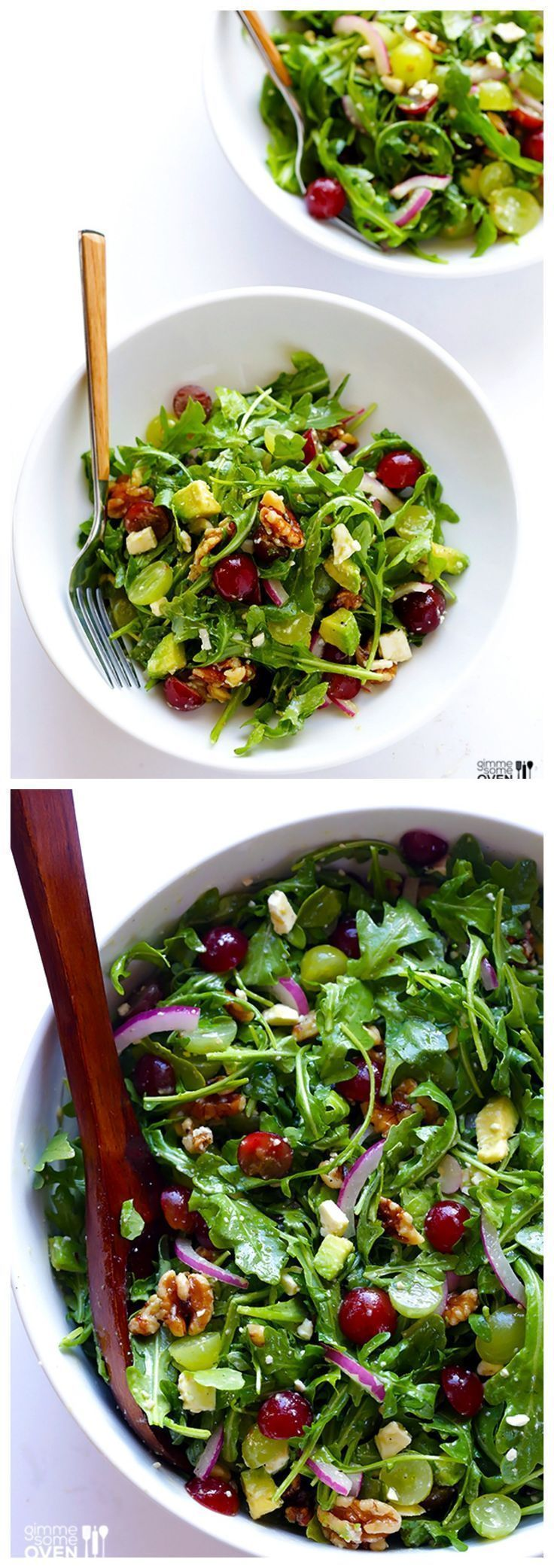 Grape, Avocado & Arugula Salad -- This Simple Salad is Fresh, Light, and Full of Wonderful Sweet Flavors You'll Love #healthy #salad #recipes