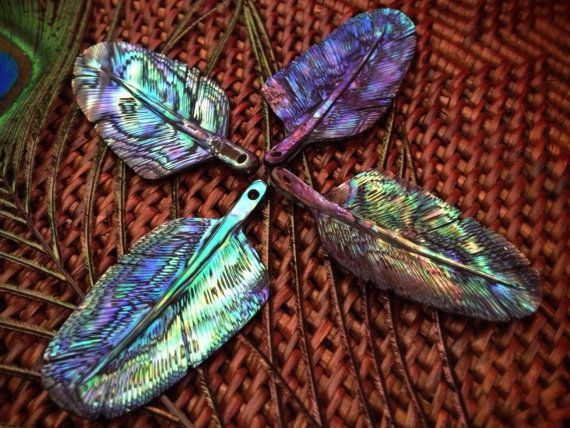 Abalone / Paua Shell Eagle Feather Pendant Necklace. Small, Rainbow Colour - Feather Tribe