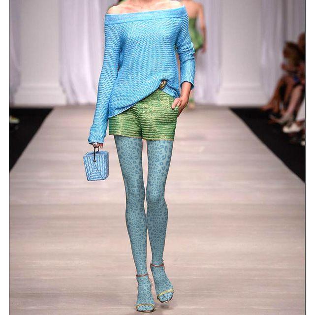 Женщины Озера Синие Печати Леопарда Колготки Чулки Бархат Мода Колготки Чулочно-Носочные Изделия