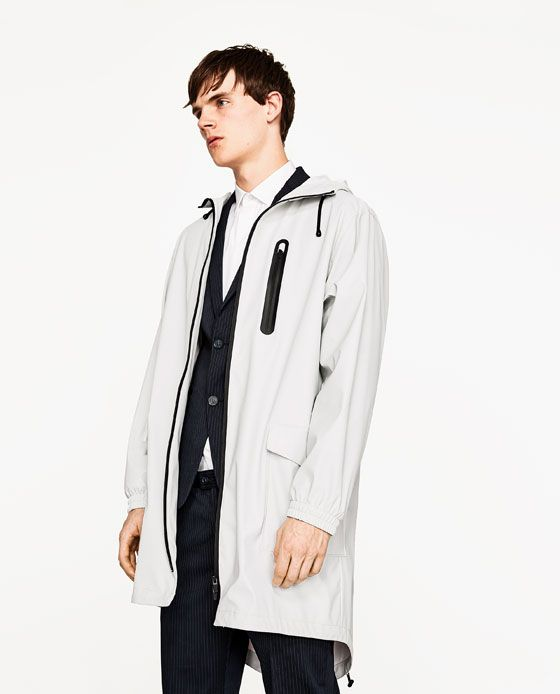 Image 4 of HOODED RAINCOAT from Zara