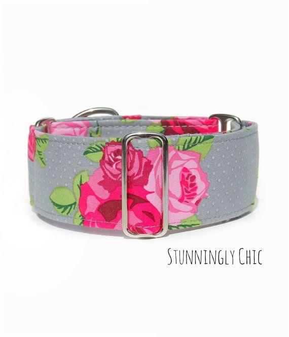 "Female Dog Collar, Pink Martingale Collar, Tag/House Collar, Regular Clip Collar, 2"" Wide 1.5"" or 1"" Dog Collar, Girly Feminine Roses Grey"
